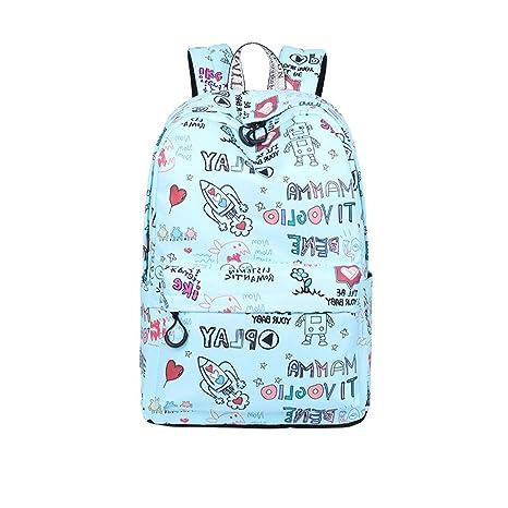 Meaningg Casual tela impermeable mujer mochilas lindo Rocket patrón impresión chicas juventud viajes Mochila Azul 14