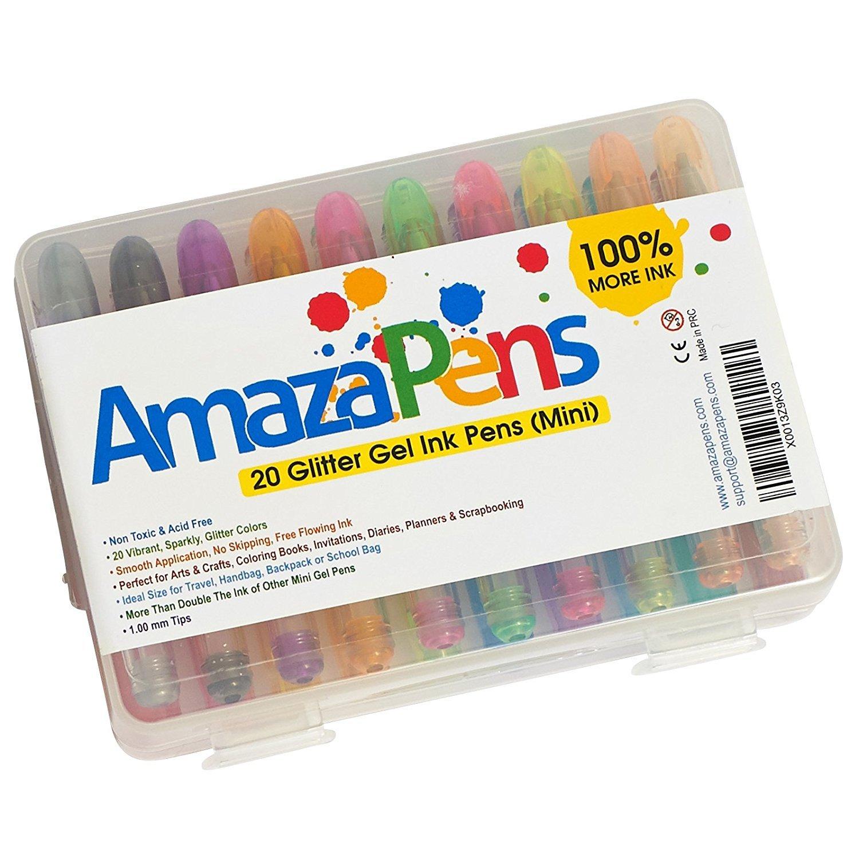 AmazaPens - Mini penne gel con inchiostro colorato glitterato, con massima quantità di inchiostro e custodia per il trasporto, ideali da portare in borsa o nello zainetto per brillare in ogni dove, regalo perfetto per colorare in viaggio e per momenti di i