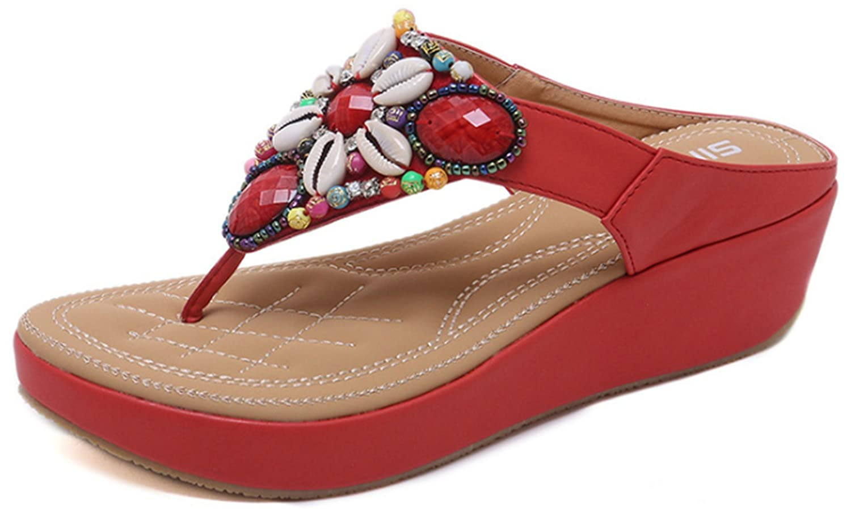 YOGLY Tongs Femme Eté, Talon Compensés Plate-Forme Chaussons de Plage Style Bohême Sandales antiderapante