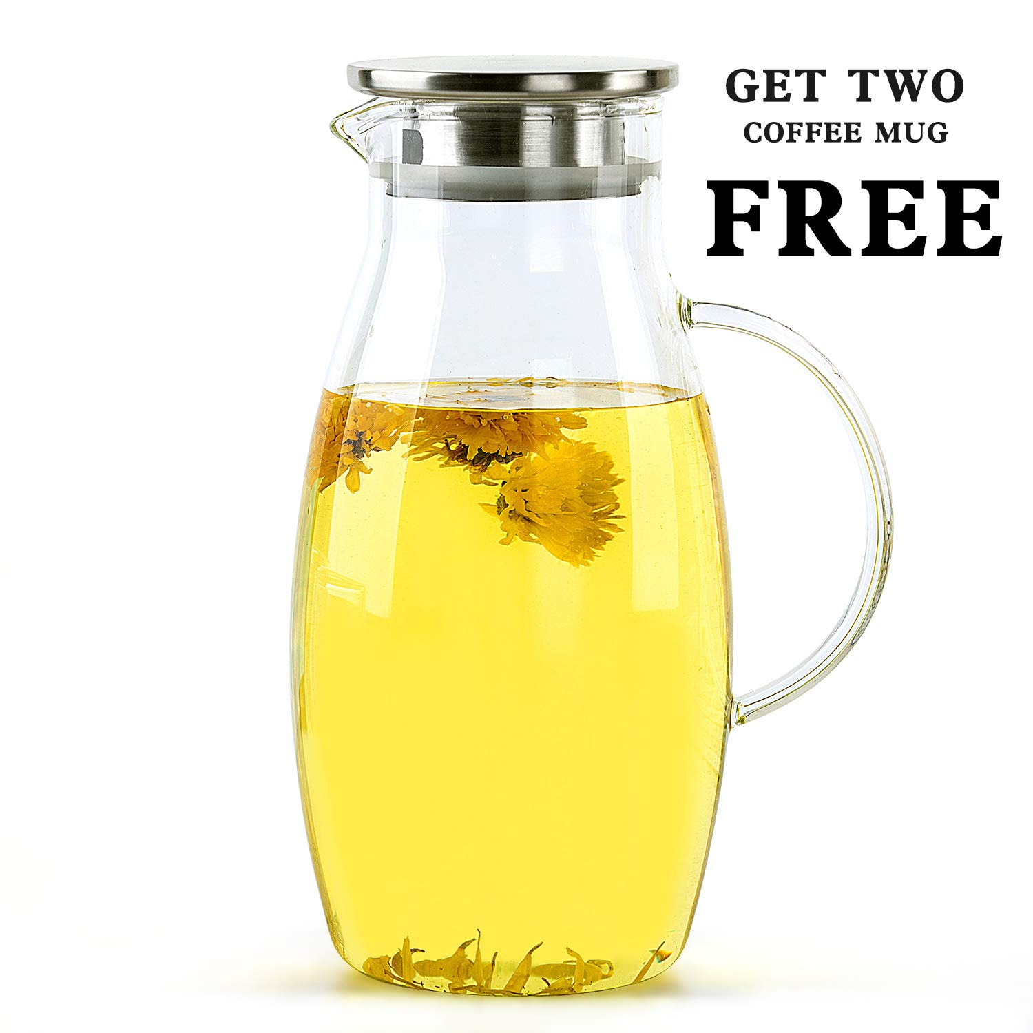 2.0 Liter Glass Water Pitcher with Stainless Steel Lid, Beverage Jug for Juice Lemon Water Iced Tea, Water Carafe with Handle, 68 Oz