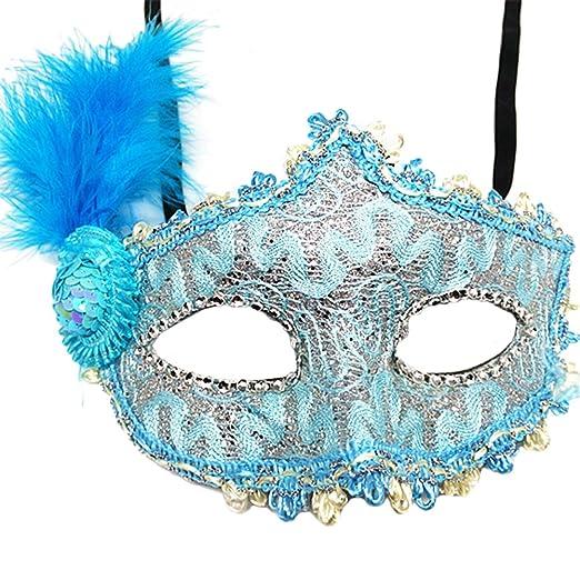 Hosaire 1x Máscara de Encaje Forma de Pluma,Mujeres Antifaz para Mascarada Veneciano Carnaval Halloween Fiesta de Baile Disfraces Juguetes para Pareja ...