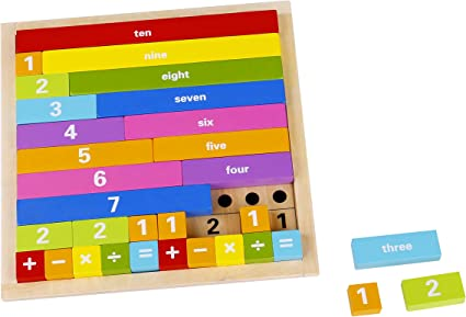 Amazon Com Toyster S Wooden Counting Math Board Game 32 Piece Educational Montessori Toys For Toddlers Kids Stem Learning Toy Interactive Way To Learn Mathematics Add Subtract Multiply And Divide Toys Games
