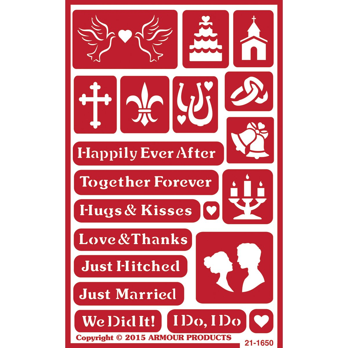 Over 'N' Over Reusable Stencils 5X8-Happily Ever After Armour Products
