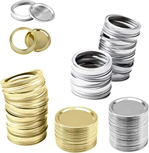 24PCS Canning Lids,Regular Mouth Split-Type Lids and Bands with Silicone Seals Rings,Leak Proof Secure Food Storage Caps,For Mason Jar Rooster cup Sealed jar(Pack of 24, 12PCS per color)