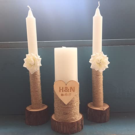 Wedding Unity Candles With White Flowers Set Of 3 With Wooden