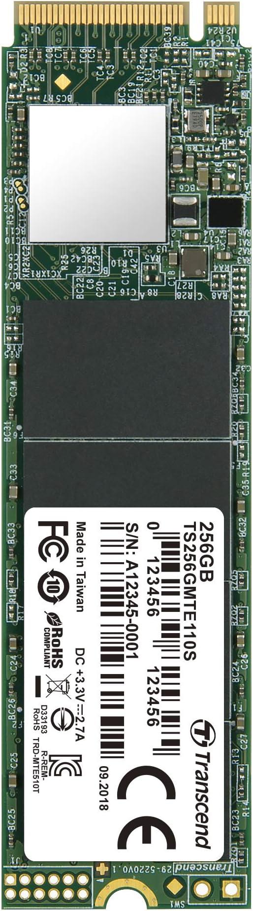 Transcend MTE110S, NVMe PCIe Gen 3x4 M.2 SSD de 256 GB, 3D TLC ...