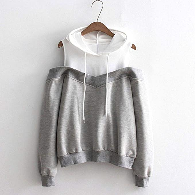 Sweatshirts Hoodie Sexy Cold Shoulder Long Sleeve Sweatshirt Hooded Pullover Tops Jumper Sudadera Mujer at Amazon Womens Clothing store: