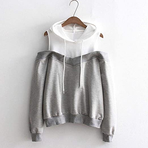 Amazon.com: Sweatshirts Hoodie Sexy Cold Shoulder Long Sleeve Sweatshirt Hooded Pullover Tops Jumper Sudadera Mujer Pink: Clothing