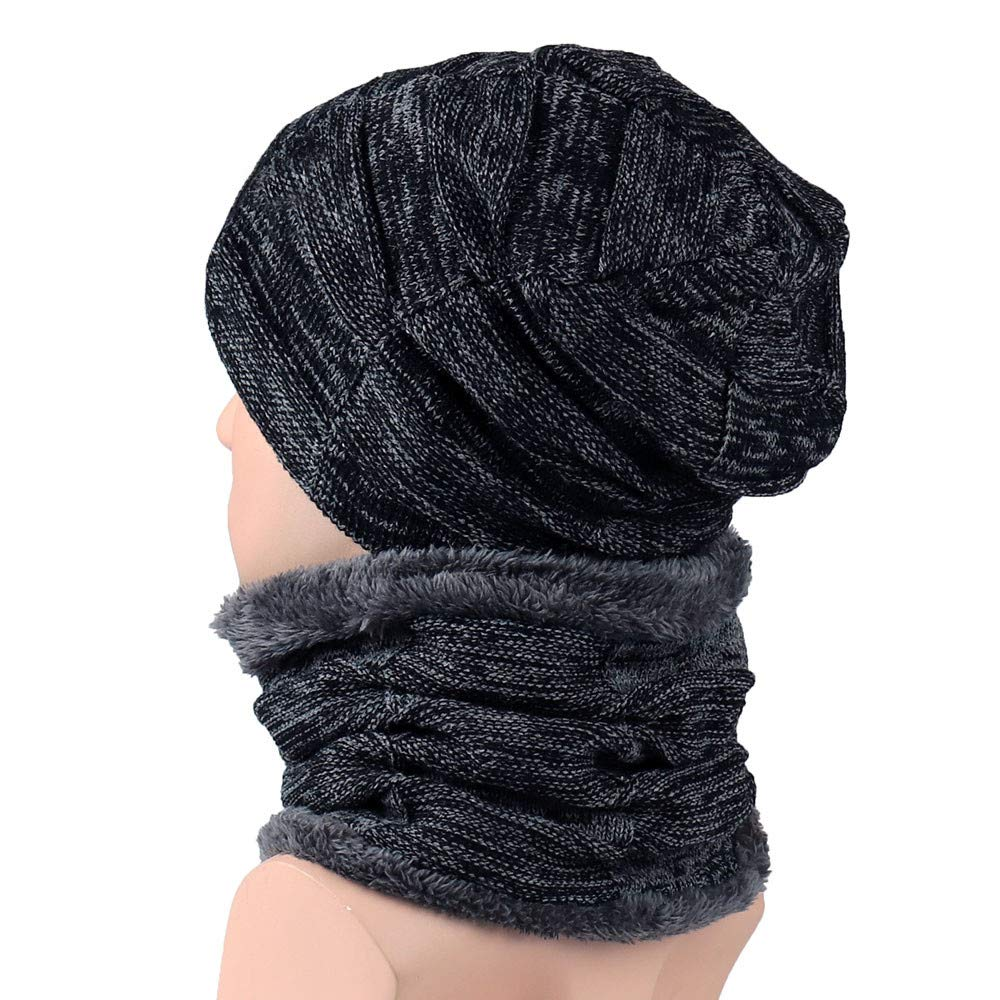 lotus.flower Unisex Men Women Winter Beanie Hat Scarf Set Warm Knitted Cap with Scarf (Black) at Amazon Womens Clothing store: