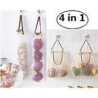 CareUToo - Bolsas de Malla para Colgar Frutas y Verduras para cebollas de Patata, Verde, Pimienta, Frutas, ajos, 2 tamaños, 4 Unidades