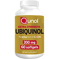 Qunol 200mg Ubiquinol, Powerful Antioxidant for Heart and Vascular Health, Essential for energy production, Natural…