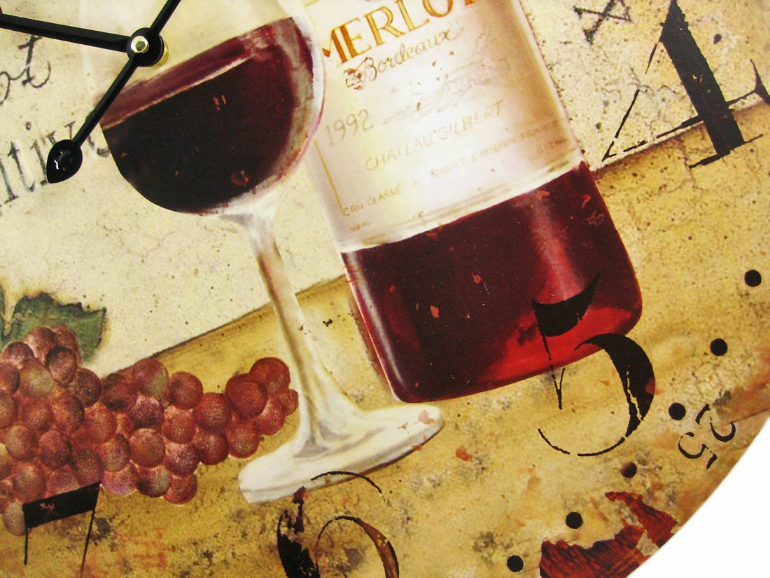 Amazon.com: Wine Motif 23 Inch Diameter Wall Clock Vineyard: Home ...
