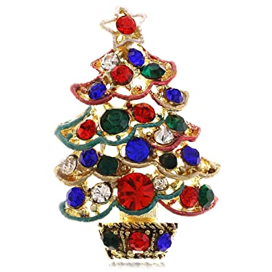 Amazon Com Soulbreezecollection Christmas Tree Brooch Pin Colorful