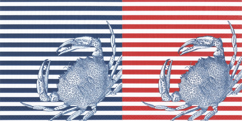 Entertaining with Caspari Paper Cocktail Napkins, Pack of 40 ... (Caskata Crabs and Stripes- Blue & Red)