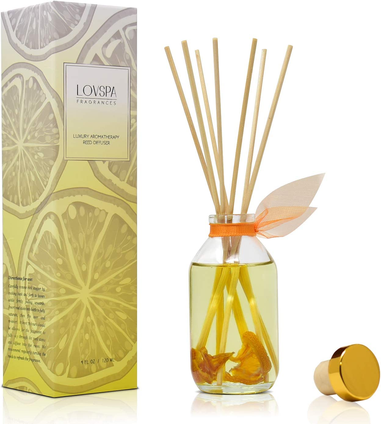 LOVSPA Valencia Orange Reed Diffuser Set - Scented Stick Room Freshener - Made in The USA