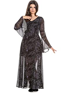 Hell Bunny Spin Doctor Goth Maxi Dress Dark SEA Mermaid Skeletons