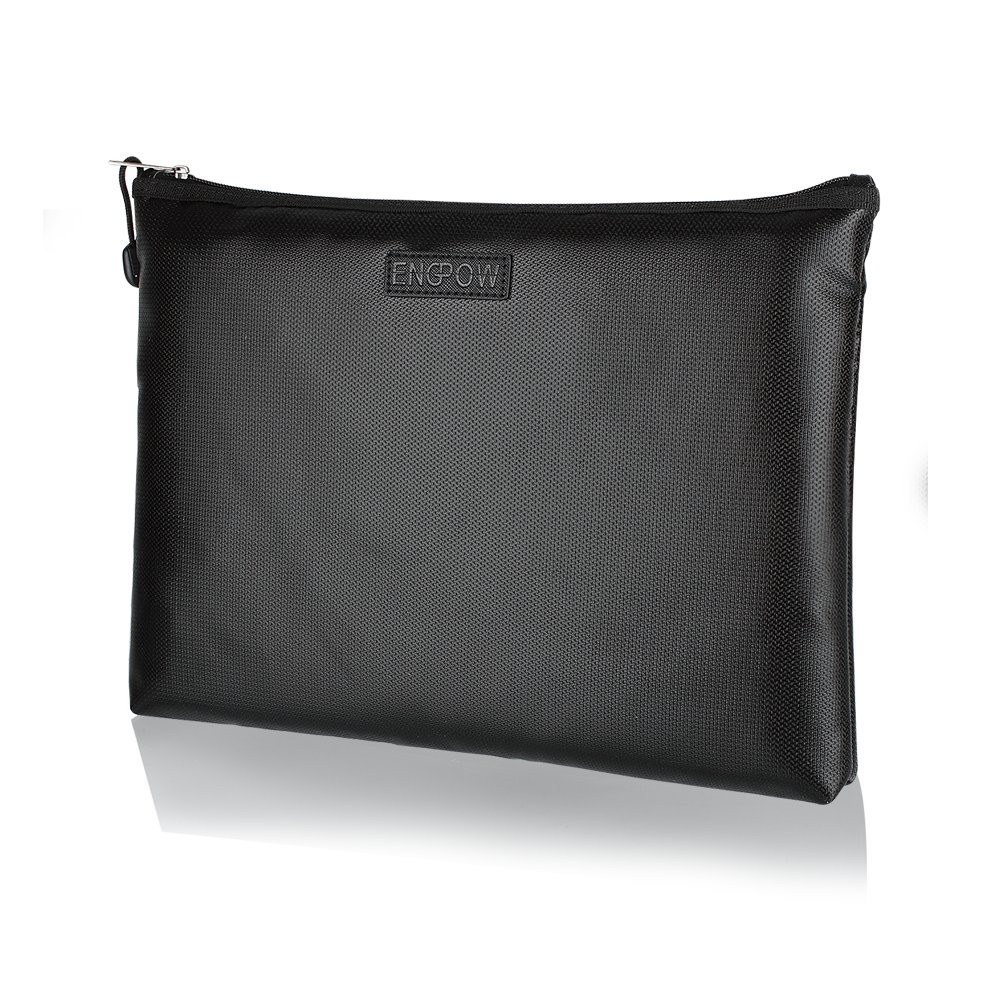 Fireproof A4 File Bag Non-Itchy Zipper and Velcro Closure for File Pouch Silicone Coated Safe Fire&Water Resistant Money Purse (X-Large(13.5''×9.8''×1.4''))