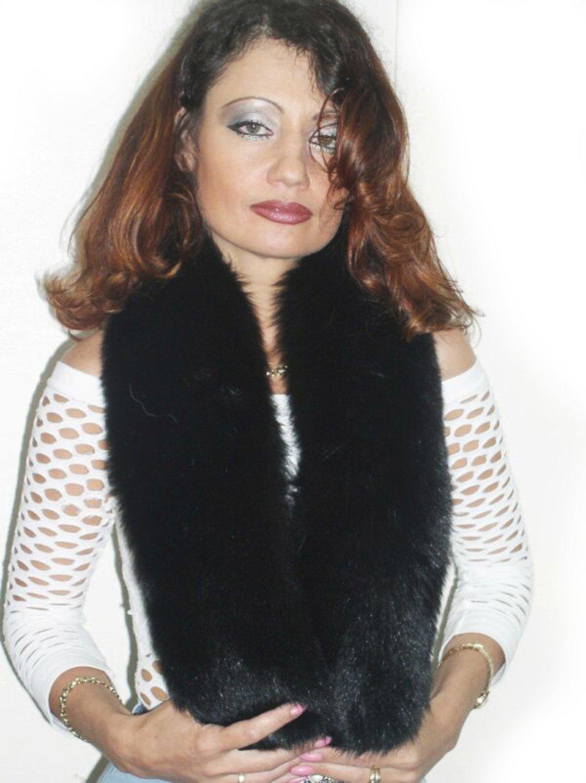 Dyed Black Fox Mini Shrug & Scarf/Multiple Wearing Styles 40'' by FursNewYork