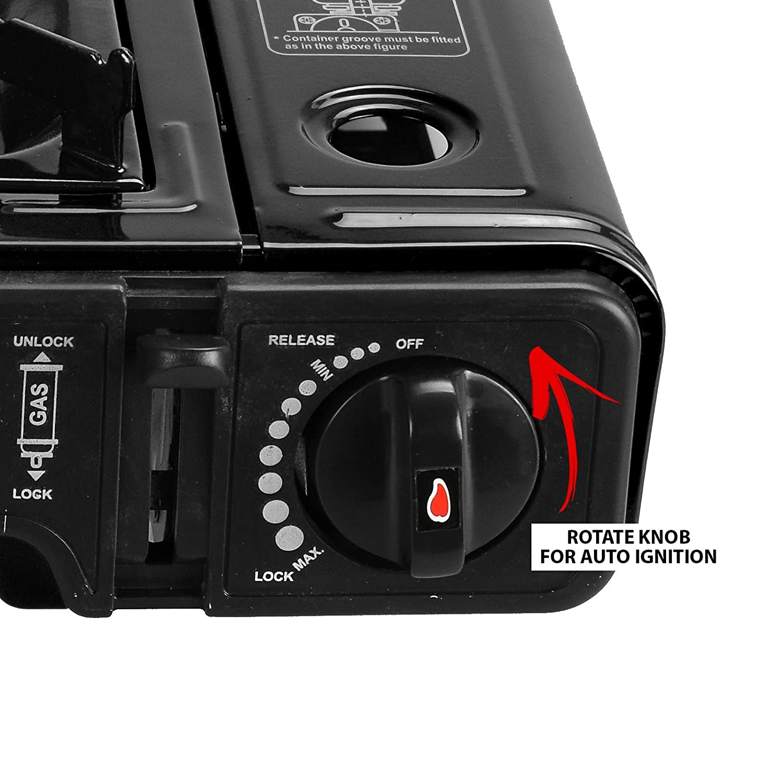 ASAB Portable Camping Gas Cooker Single Burner Stove Automatic Ignition System Enamel Pan Holder Butane BBQ Carry Bag Caravan Outdoor
