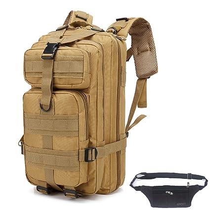 QHIU Mochilas de Marcha Táctica Impermeable Militar Molle con Bolsa de Cintura para Montañismo Excursionismo Trekking