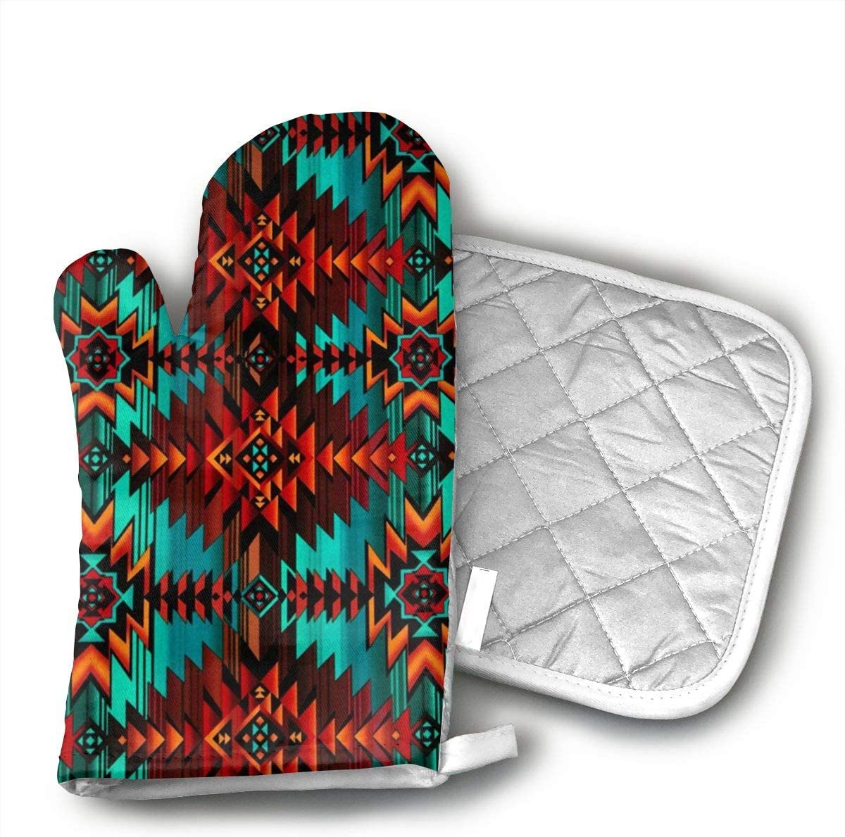 PanXaima Native Southwest Print Oven Gloves Non-Slip Kitchen Oven Mitts Heat Resistant Cooking Gloves for BBQ,Baking,Grilling,Barbecue Potholder