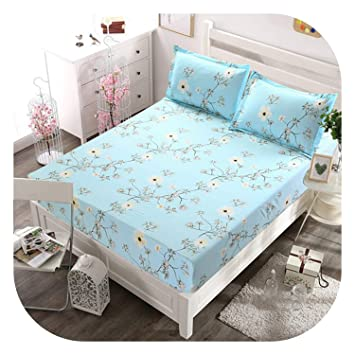 6a08025d61 Amazon.com: Bed Sheet with Pillowcase Blue Flower Printed Bed Linen Queen  Size Mattress Covers Fitted Sheet Sets with Elastic for King Size,Type ...