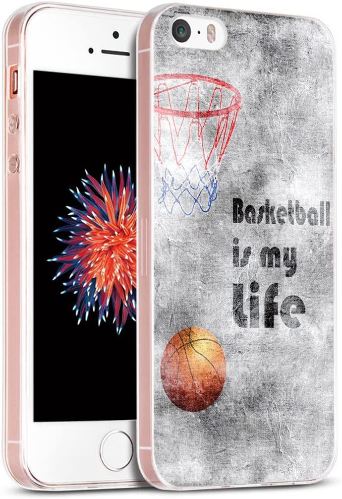 5S Case/Case for Phone SE Basketball/IWONE Designer Rubber Durable Protective Skin Transparent Cover Shockproof Compatible with iPhone 5S/5/SE + Creative Pattern Basketball Writings Sports