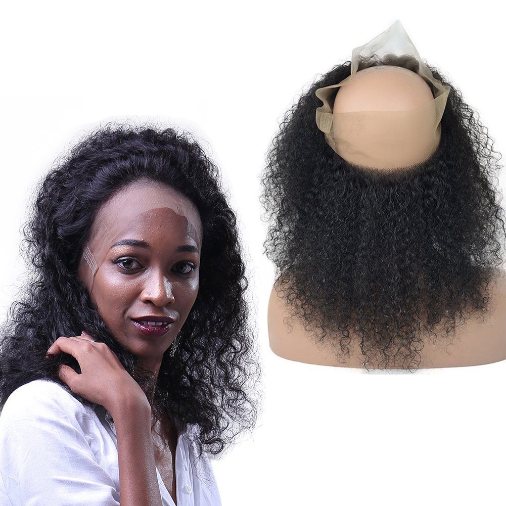 Brazilian Virgin 360 Human Hair Lace Frontal Closure, LLwear Free Part Pre Plucked 360 Curly Closure with Baby Hair and Natural Hairline for Black Women 360 Lace Frontal 18 Inch