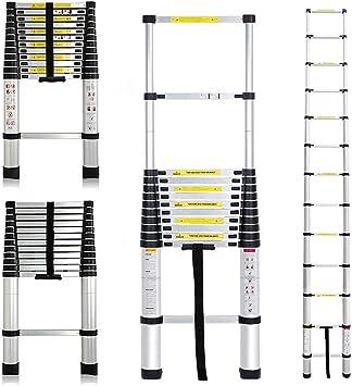 Escalera telescópica, extensible y multiusos de 3,8 metros (aluminio), ideal para casa y oficina: Amazon.es: Bricolaje y herramientas