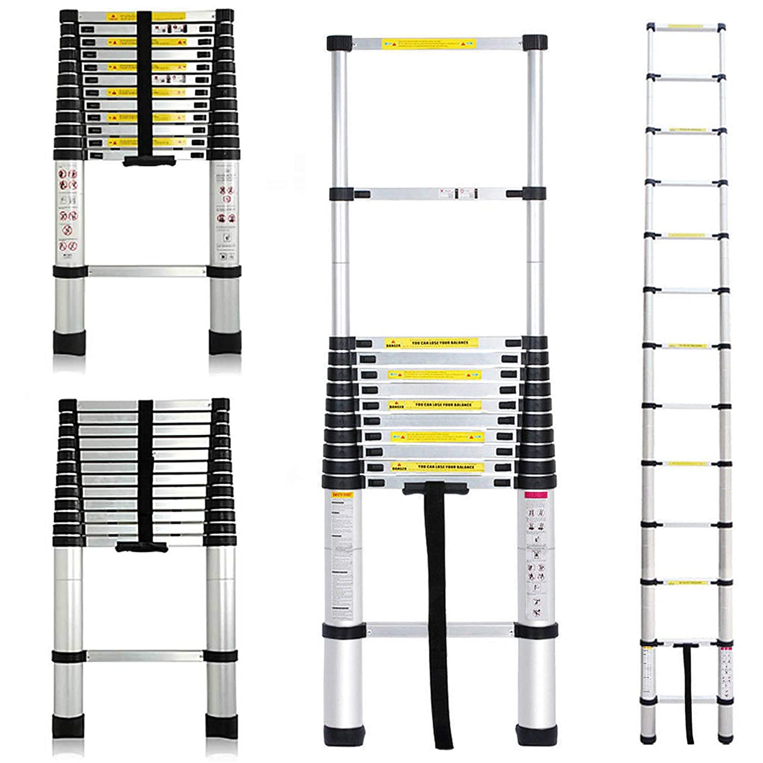 Multi-Function Telescopic Ladder 4.7M Aluminum Alloy Folding Portable Ladder with 1 Tool Tray 150KG Load Capacity for Home Office Indoor Outdoor Bowose