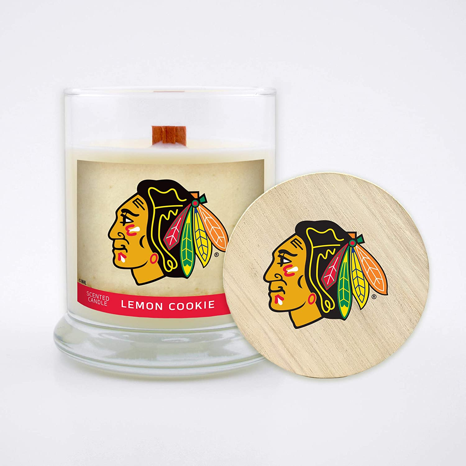 Worthy Promo NHL Unisex-Adult NHL 8 Oz Soy Wax Wood Wick Candle with Lid
