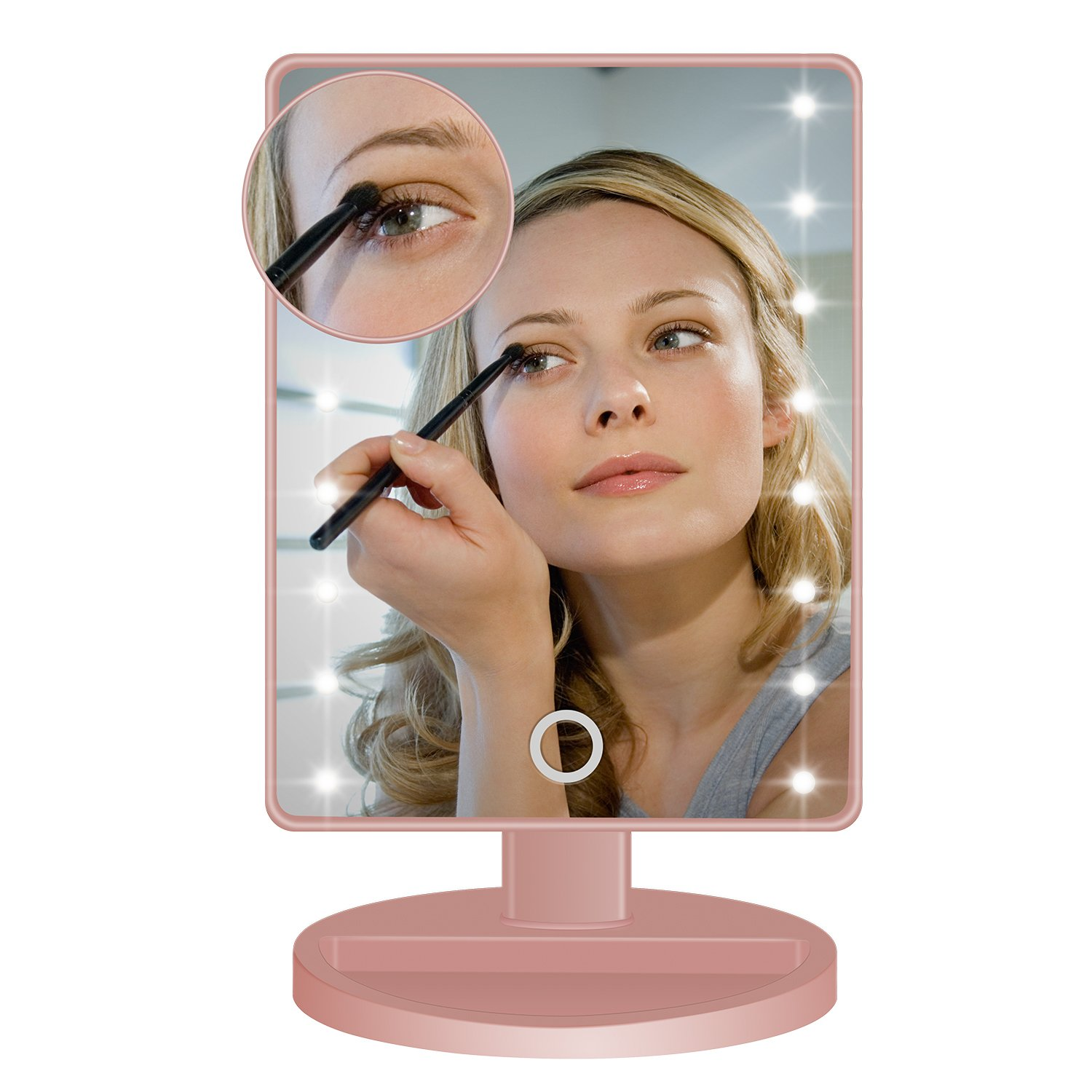 Vanity Mirror, BEW Lighted Makeup Mirror with 16 LED lights & Touch Screen Dimmable and Detachable 10x Magnifying Spot Mirror for Cosmetic Makeup, Valentine's Day Gift (Rose Gold)