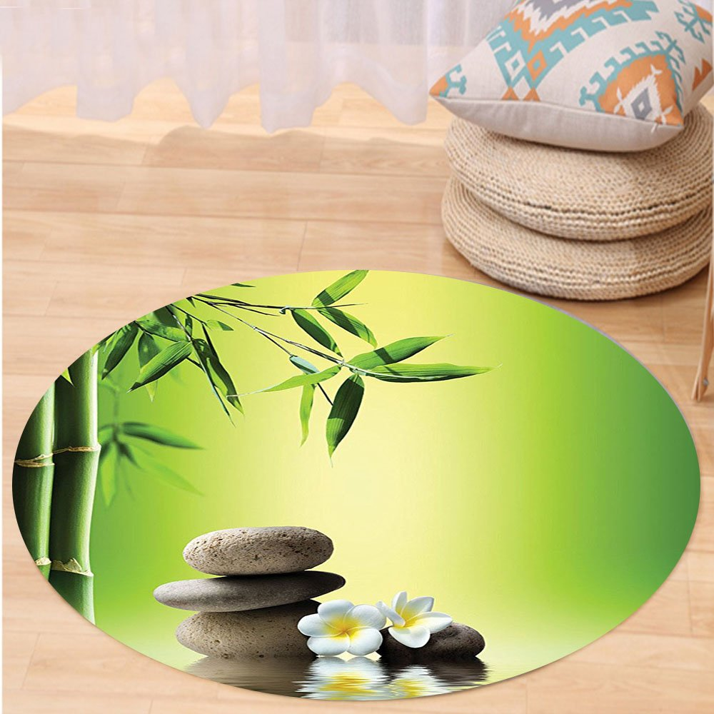 VROSELV Custom carpetBamboos Spa Decor Collection Japanese Therapy and Relaxation Stones Frangipani Flowers Design Bedroom Living Kids Girls Boys Room Dorm Accessories Green Yellow Round 79 inches