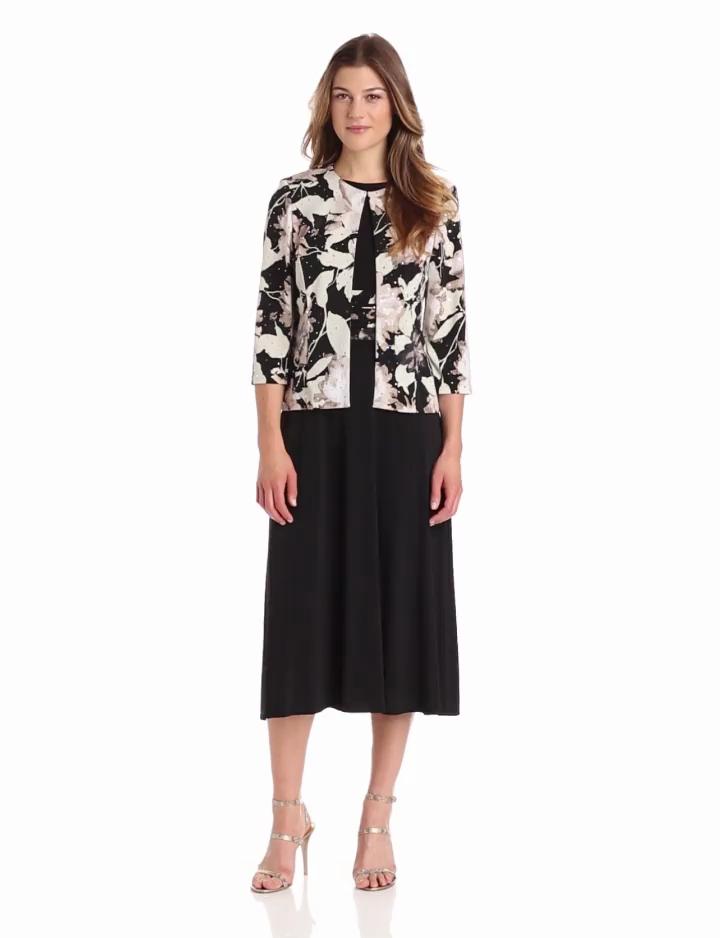 Jessica Howard Womens 3/4 Sleeve Print Jacket Dress