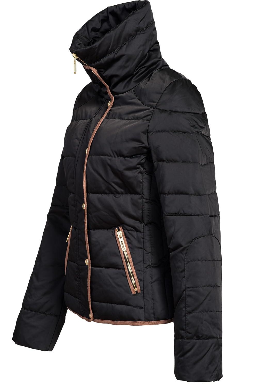 Sublevel 44204B Chaqueta de invierno para mujer (plumón, corta, cuello de piel de piel sintética), diseño elegante