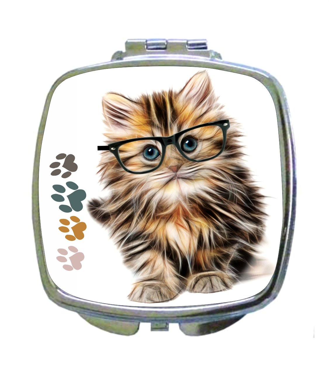 Hipster Furry Kitty Cat in Black Glasses with Multicolored Pawprints - Kitten Animal - Compact Beauty Mirror - Square Shaped