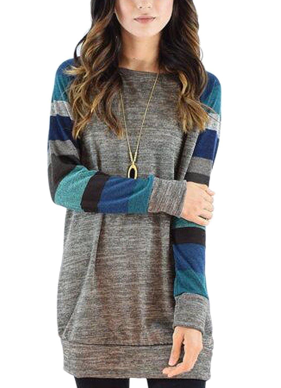 Haircloud Womens Color Block Long Sleeve Sweatshirt Cotton Jersey Tunic Tops
