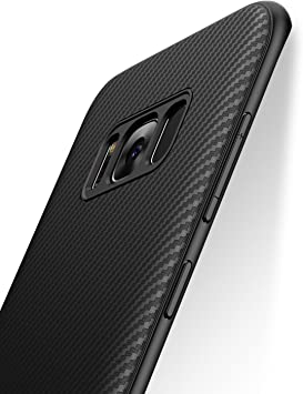 J Jecent Funda para Samsung Galaxy S8 [Textura Fibra de Carbono ...