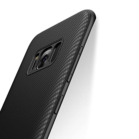 iCOCEN Samsung Galaxy S8 Case [Carbon Fiber Texture Design] Durable Light Shockproof Cover Full Protective Stylish Slim Fit Shell Soft TPU Silicone ...