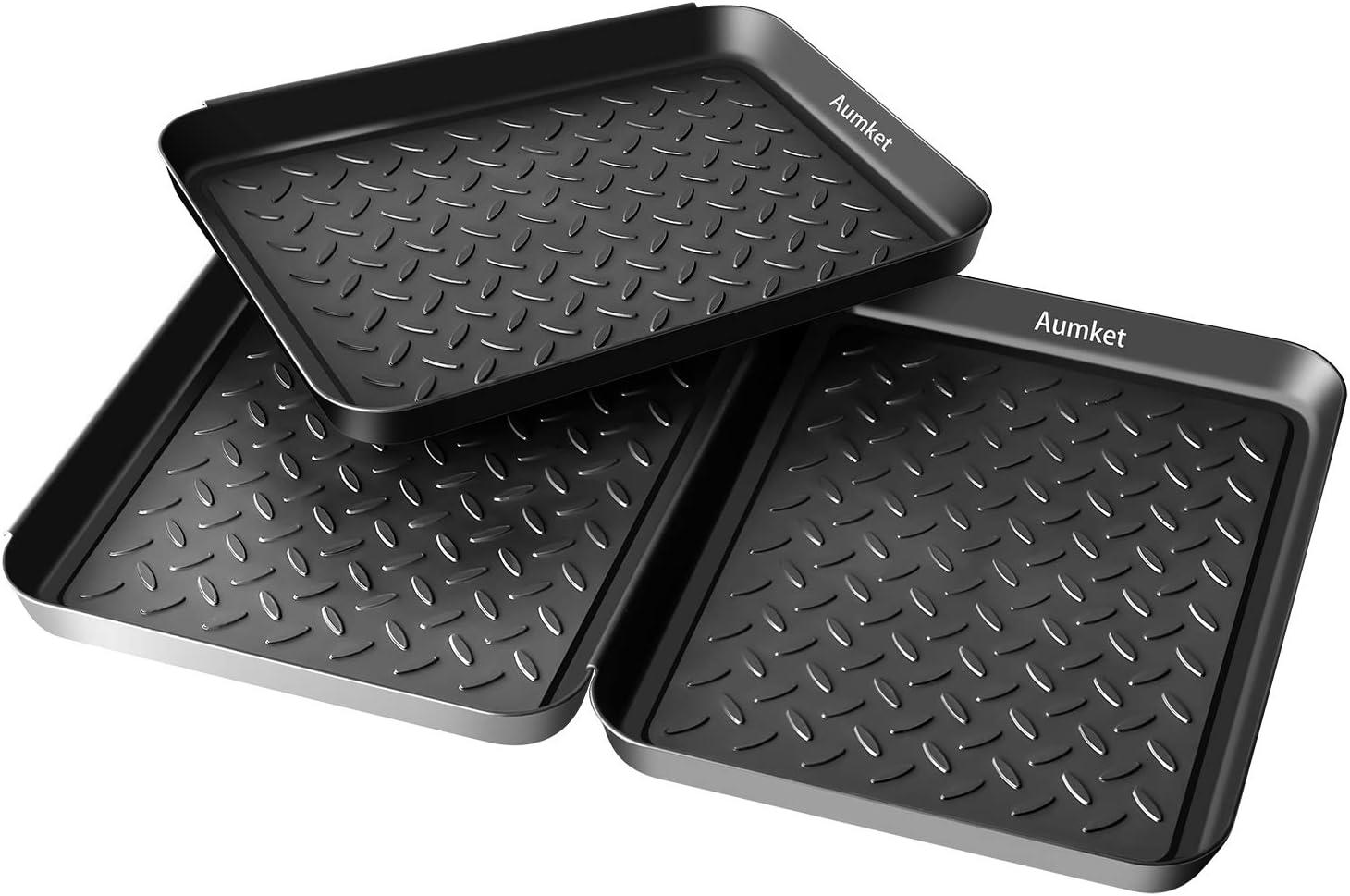 "Aumket Boot Mat Tray,3PCS Multi-Purpose 13.7"" x 10.6"" x 1.2"" Floor Protection-Pet Bowls-Paint-Dog Bowls,Shoes, Pets, Garden - Mudroom, Entryway, Garage-Indoor and Outdoor Friendly ((Black 3PCS)"