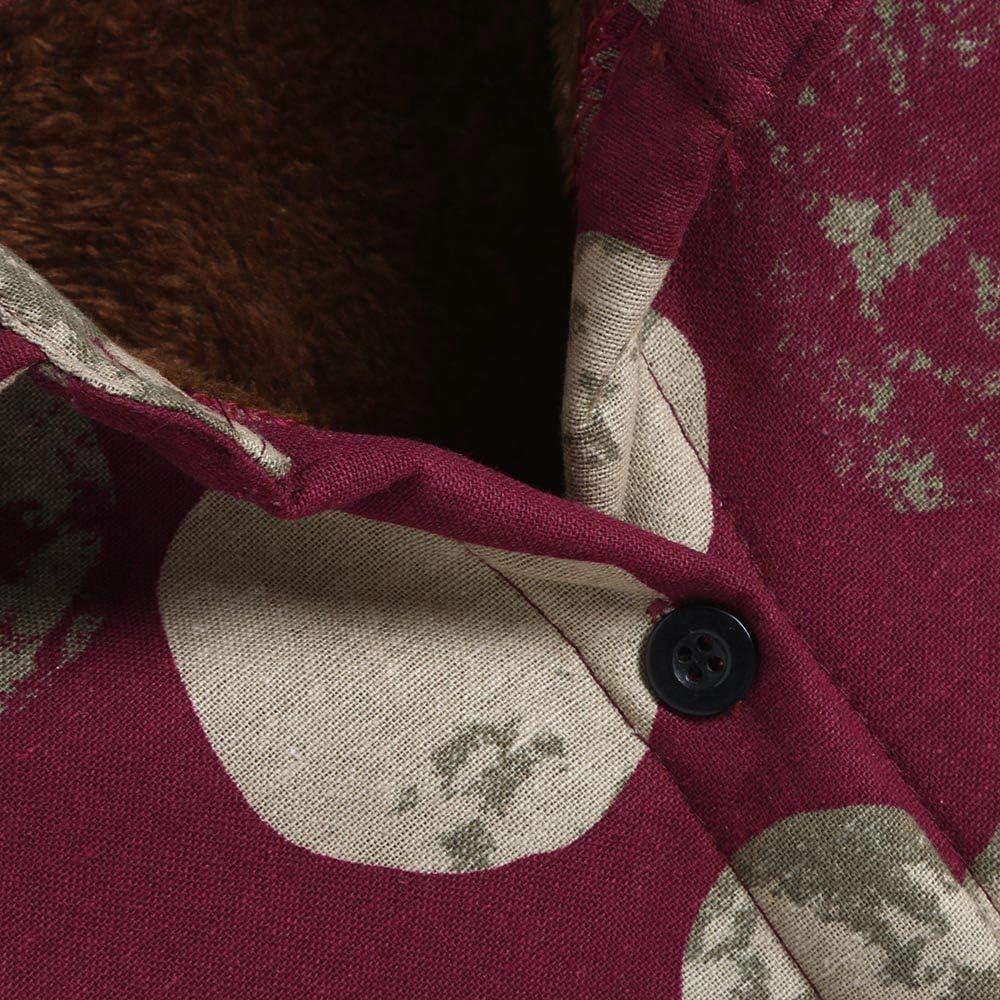 AKIMPE Women Cotton Linen Winter Warm Plus Velvet Coat Folk-Custom Print Outcoat Jacket Red L3