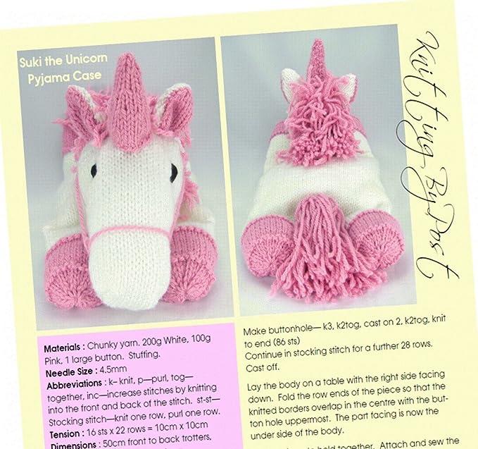 Suki The Unicorn Pyjama Case Knitting Pattern Amazon Toys