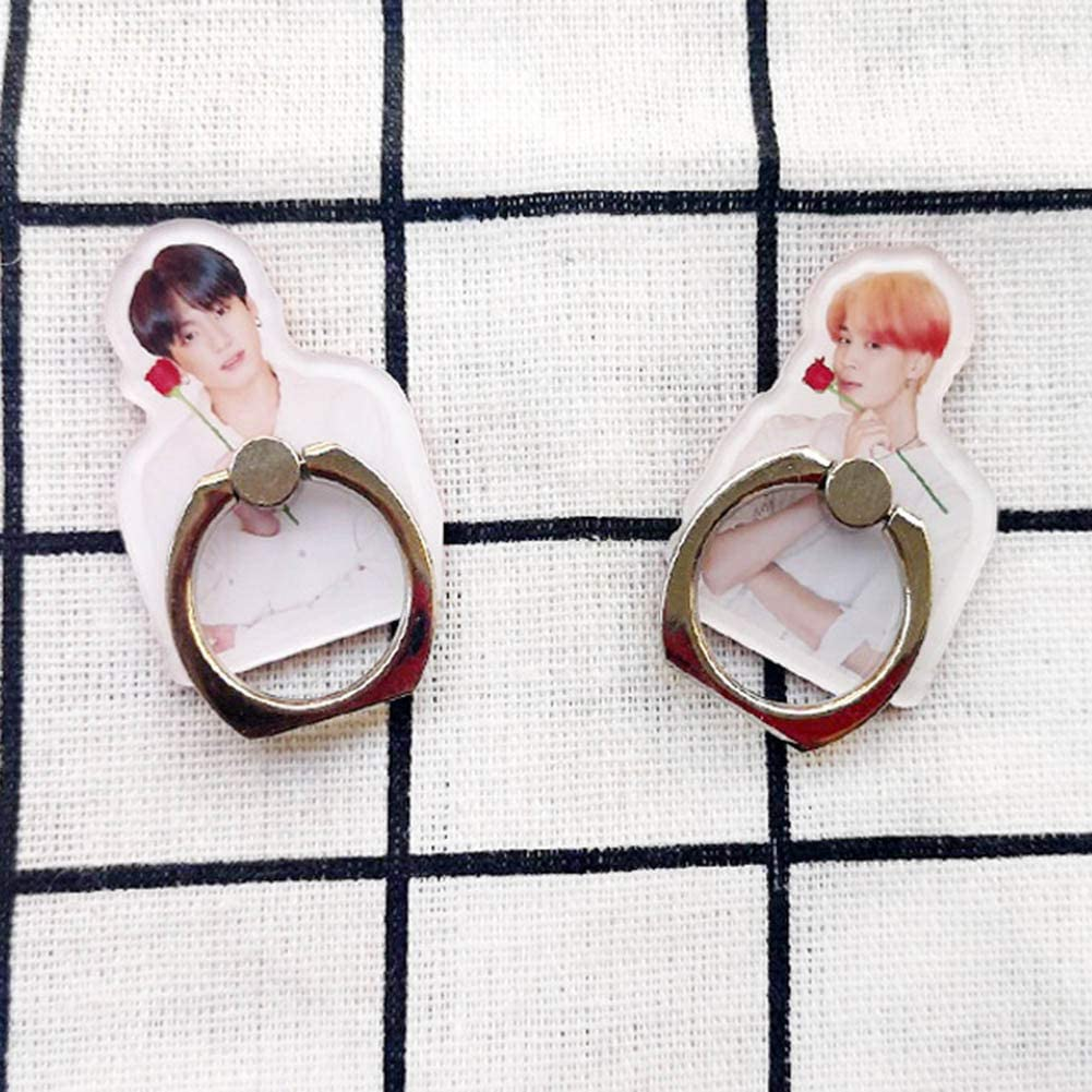 Youyouchard 2PCS//Set Kpop BTS New Album MAP of The Soul Persona Universal Phone Ring Stand Holder Finger Ring Grip Stand Holder Ring 360/°Rotation Phone Ring Grip Jimin
