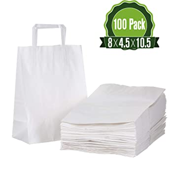 Amazon.com: Bolsas de regalo de papel kraft blanco a granel ...