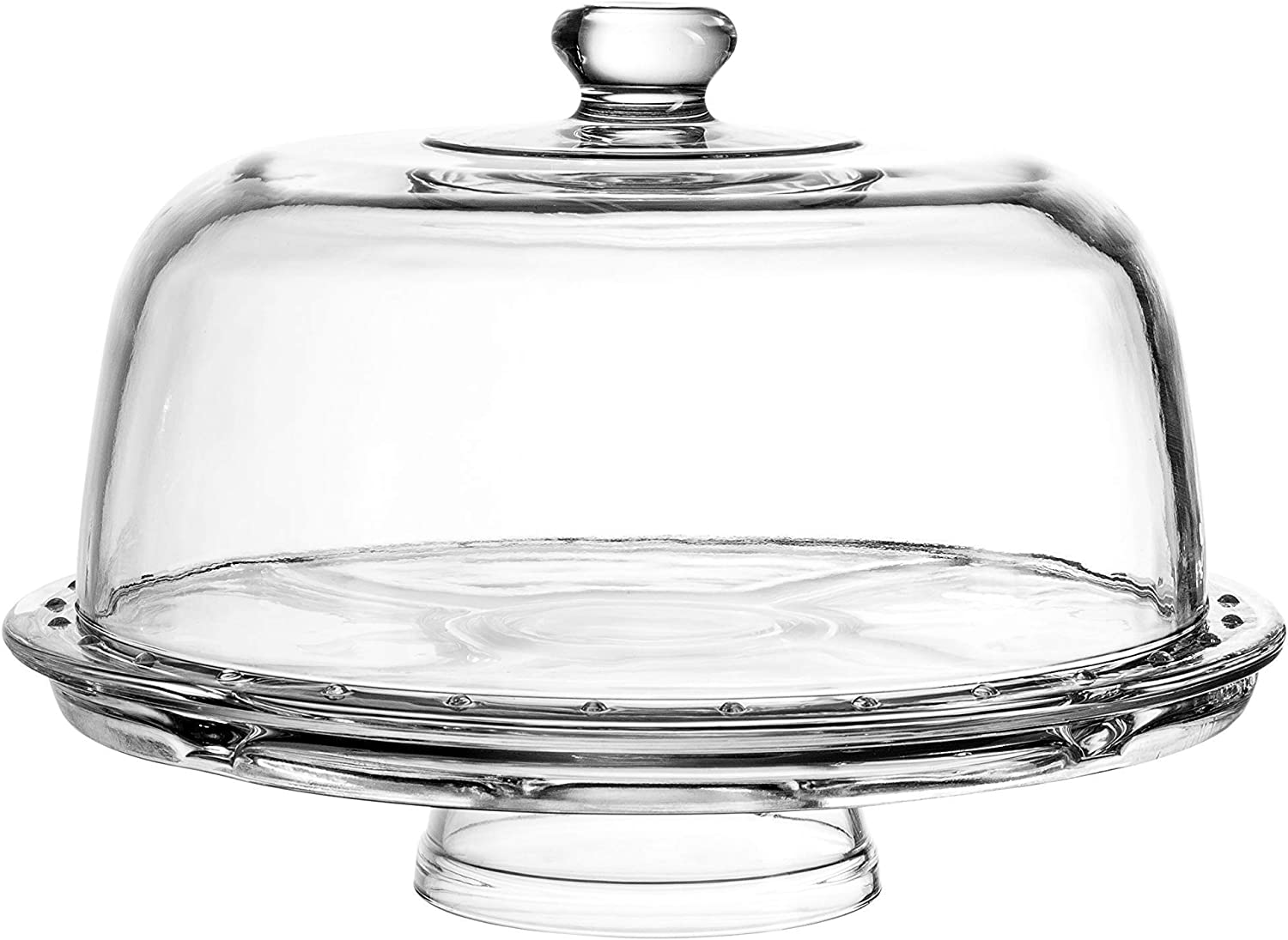 European Cake Stand with Dome (6-in-1 Design) Multifunctional Serving Platter for Kitchens, Dining Rooms , Pedes Glass Durabilitytal or Cover Use , Elegant
