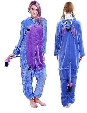 e7d64d61809a Unisex Adult Eeyore Onesie Pajamas Plush One Piece Animal Cosplay Costume  for Women Men Teens
