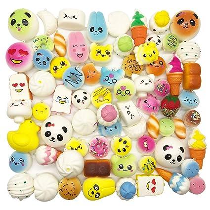 382559a399a3 Amazon.com  Random 20pcs Jumbo Medium Mini Slow Rising Kawaii Squishy  Cake Panda Bread Buns Phone Straps  Toys   Games