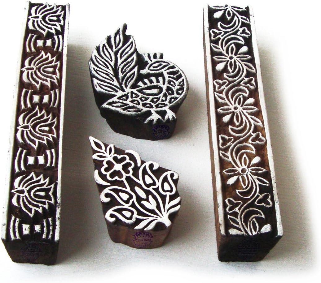 Set of 6 Royal Kraft Designer Heart and Floral Pattern Wood Block Print Stamps