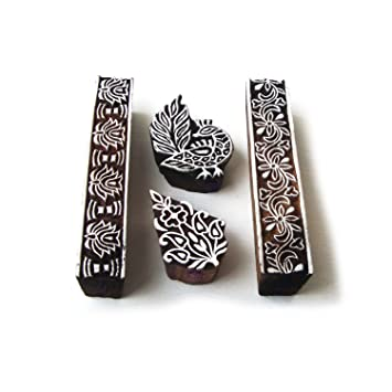 Clay Textile Set of 4 Paper for DIY Henna Royal Kraft Peacock and Border Wood Blocks for Printing Pottery Block Printing Fabric