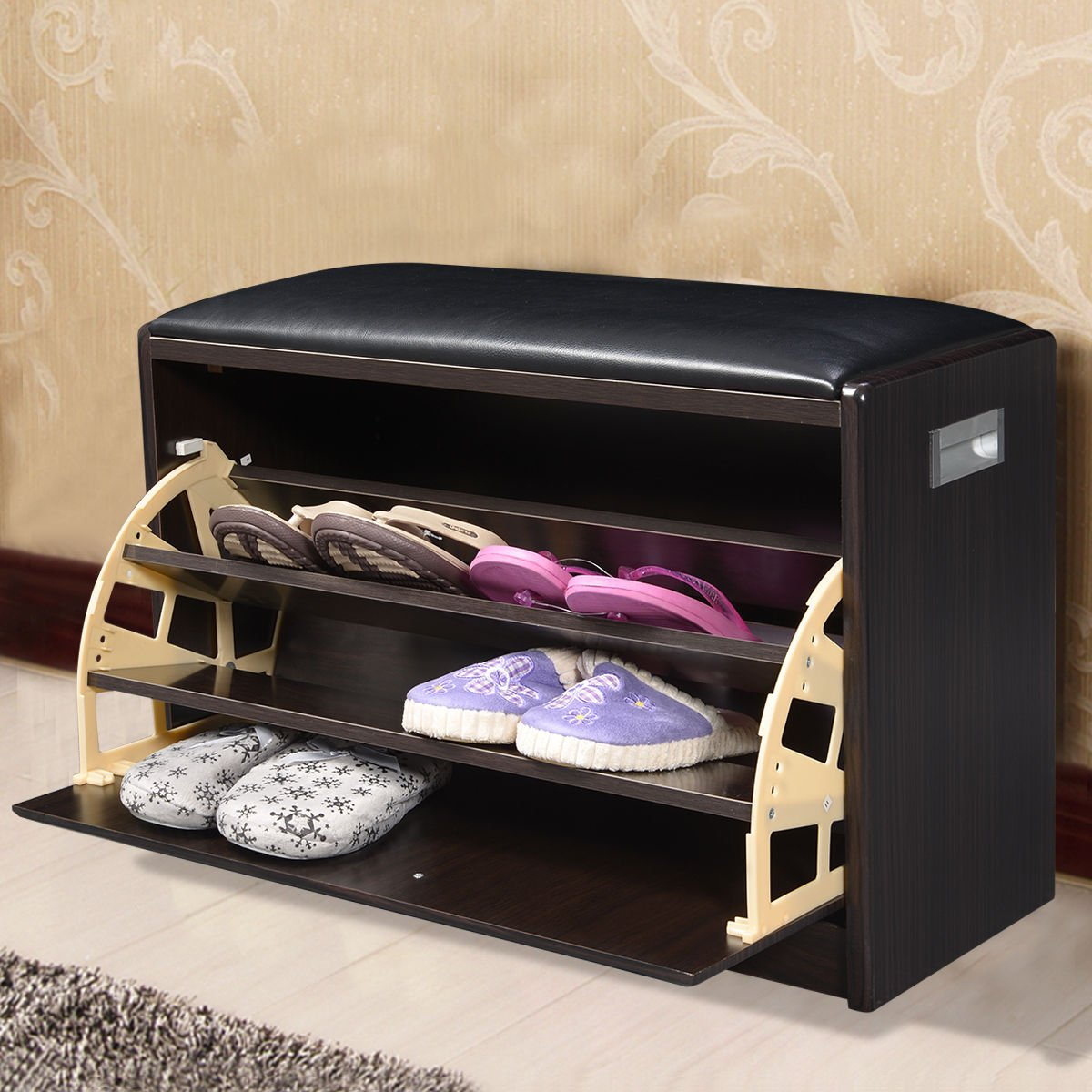 New deluxe shoe storage cabinet closet wooden ottoman bench seat rack - Mascarello Wooden Shoe Cabinet Closet Storage Rack Pu Seat Bench Ottoman Entryway Hallway Amazon Co Uk Kitchen Home